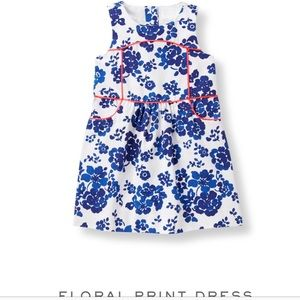 Janie and Jack Cobalt Floral Print Dress